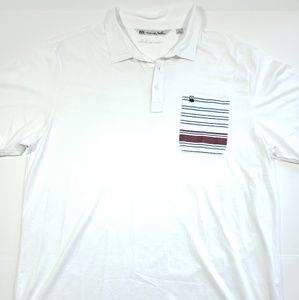 Mens Travis Mathew golf polo XL white C8